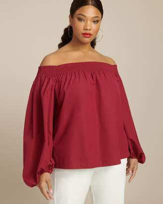 Derek Lam Off Shoulder Blouse with Exaggerated Sleeves