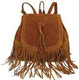 Donalworld Woen Tassel Backpack Book Travel Drawstring PU Leather Bag