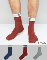 Asos Cable Boot Socks With Stripe Roll Top 3 Pack