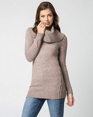 Le Château Viscose Blend Cowl Neck Tunic Sweater