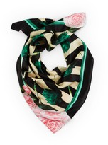 Texas And The Artichoke Large Artichokes Roses & Stripes Silk Scarf