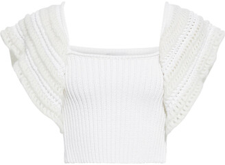 RED Valentino Cropped Crochet-paneled Ribbed Cotton-blend Top