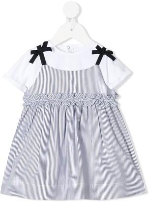 Il Gufo Layered Style Striped Dress