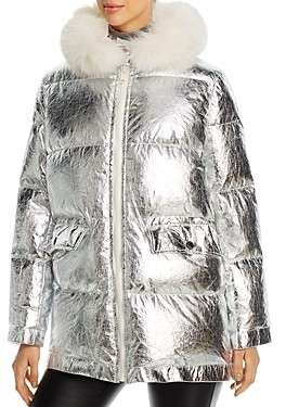 Yves Salomon Fox-Fur Trim Metallic Puffer Coat