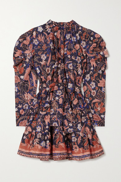 Ulla Johnson Naima Belted Ruffled Floral-print Cotton-poplin Mini Dress - Midnight blue