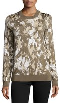Jason Wu Long-Sleeve Printed Pullover, Army/Beige/Chalk
