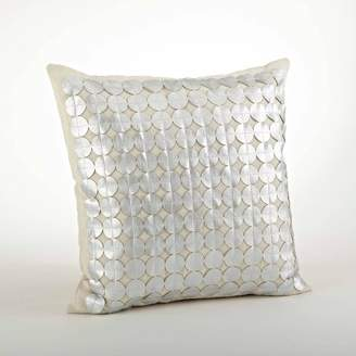 Mid-Century MODERN Saro Lifestyle Down Filled Circle Design Cutwork Pillow Silver