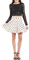 Jodi Kristopher Sequin-Lace Top Polka Dot Skirt Two-Piece Dress