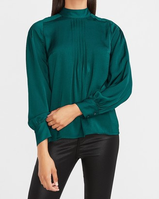 Express Satin Pleated Mock Neck Top
