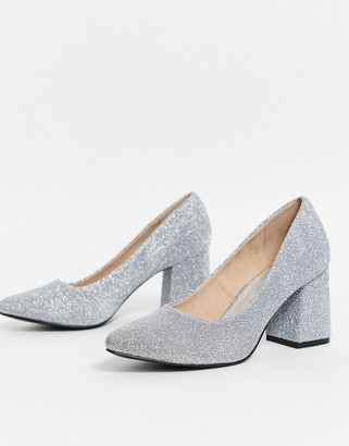 Vero Moda glitter court shoes-Silver