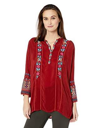 Johnny Was Women's Henley Style Blouse with Embroidered Sleeves