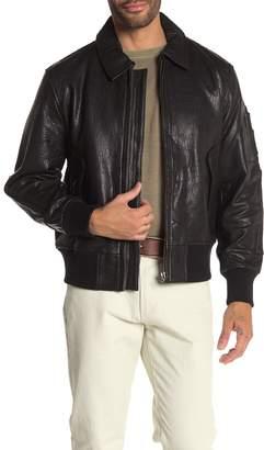Joe's Jeans Front Zip Lamb Leather Military Bomber Jacket
