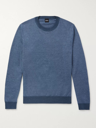 HUGO BOSS Slim-Fit Striped Cotton And Linen-Blend Sweater