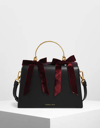 Charles & Keith Velvet Bow Detail Top Handle Bag