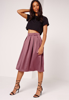 Missguided Satin Pleat Waistband Full Midi Skirt Purple