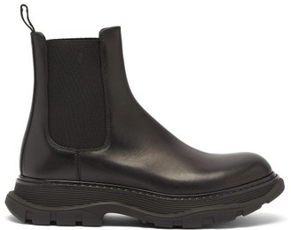 Alexander McQueen Raised-sole Leather Chelsea Boots - Black