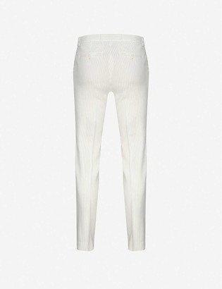 Sandro Pinstripe tapered stretch linen-blend trousers