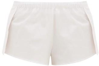 Rossell England - Side-slit Cotton-poplin Pyjama Shorts - Womens - Light Pink