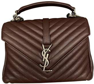 Saint Laurent College monogramme Burgundy Leather Handbags