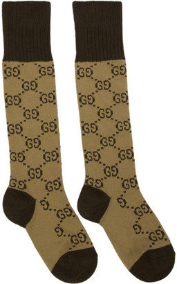 Gucci Beige and Brown GG Supreme Socks
