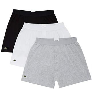 Lacoste Boxer 3-Pack Knit Essential Classic (Black/Silver Chine/White) Men's Underwear
