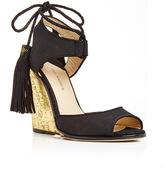 Paul Andrew Tianjin Glitter Wedge Heels with Tasseled Ankle Tie