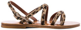 K. Jacques Calf Hair Datura CC Sandals in Horsy Leopard | FWRD