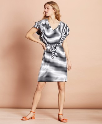 Brooks Brothers Striped Jersey Flutter-Sleeve Shift Dress