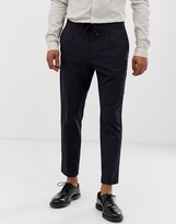 Moss Bros cropped slim pants with drawstring waist in navy