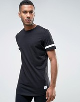 Jack and Jones Core Longline T-Shirt with Arm Stripe Back Panel and Seem Tie