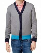 Tommy Hilfiger Gray Blue Mens Size XL Colorblock Cardigan Sweater