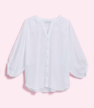 LOFT Plus Striped Drop Shoulder Button Down Shirt