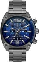 Diesel Overflow Advanced Blue Dial Chronograph Gum Metal Stainless Steel Bracelet Mens Watch