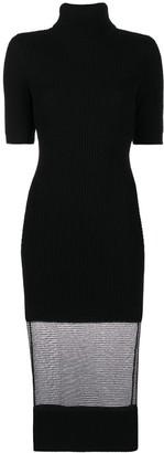 Elisabetta Franchi Roll Neck Sheer Panel Dress