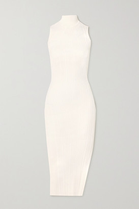 Herve Leger Ribbed-knit Turtleneck Midi Dress - White