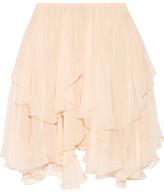 Chloé Tiered Silk-crepon Mini Skirt - Peach