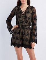 Charlotte Russe Embroidered Mesh Lace-Up Romper
