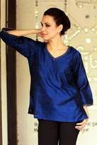 Embellished Silk Tunic Blouse from India, 'Grand Sapphire'