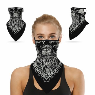 Sunew Winter Neck Gaiters Ear Loops Unisex Soft Motorcycle Baseball Face Mask Mouth Coverings with Ear Loops Hangers Breath Balaclava for Cycling Fishing Hunting Horseback Halloween 1 Pack Blue