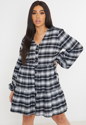 Missguided Plus Size Black Check Button Plunge Smock Dress