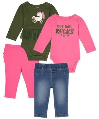 Garanimals Baby Girl Long Sleeve Bodysuits, Denim Pants & Leggings 4-Piece Multi Pack