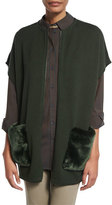 Lafayette 148 New York Ribbed Zip-Front Vest w/ Faux Fur Pockets, Vineyard