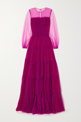RALPH & RUSSO Tiered Pleated Tulle Gown - Pink