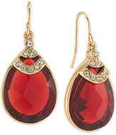 Carolee Gold-Tone Teardrop Burgundy Stone and Pavé Drop Earrings