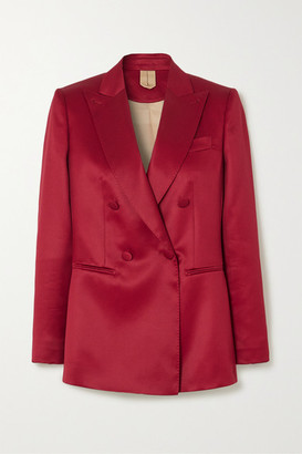 Max Mara Renza Double-breasted Wool And Silk-blend Satin Blazer - Red