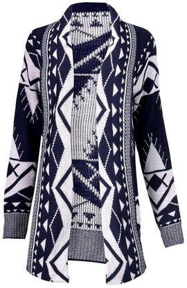 GirlsWalk Women's Aztec Tribal Print Knitted Boyfriend Cardigan Sweater Top - Multi - X-Large