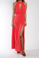 Donna Mizani Draped Halter Gown In Rose