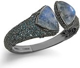 Stephen Dweck Women's 925 Sterling Silver Ruthenium Plated Rainbow White Moonstone Over Hematite with London Blue Topaz Gemstones Bracelet