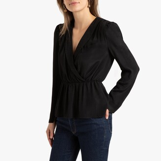 La Redoute Collections Blazer Wrapover Blouse with Long Sleeves