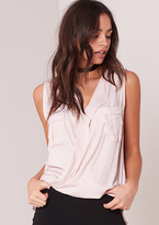 Missy Empire Lissie Pink Wrap Front Sleeveless Blouse